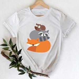 T shirts Women 2021 Fox Animal Short Sleeve 90s Cartoon Clothes Printing Graphic Tshirt Top Lady Print Female Tee T Shirt