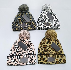 Leopard Buchstaben Mode Herbst Winter Hüte für Frauen geometrische Wolle gestrickte Mütze solider handgemachte Beaniekappe weibliche Motorhaube