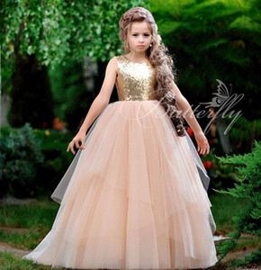 2020 Pink Cheap Flower Girl Dresses Sequined Tulle Little Girl Wedding Dresses Cheap Communion Pageant Dresses Gowns ZJ617