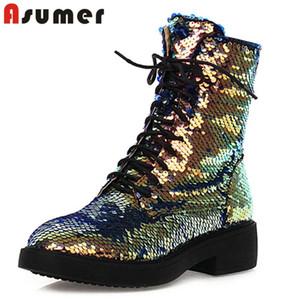 ASUMER 2020 موضة جديدة الترتر أحذية الكاحل المرأة جولة اصبع القدم الدانتيل يصل البريدي الخريف الأحذية في فصل الشتاء منخفضة مريح كعب حذاء امرأة