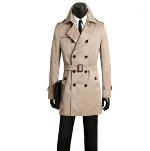 Mens trench coats man beige coat men double breasted clothes slim fit overcoat long sleeve spring autumn new designer S - 9XL1