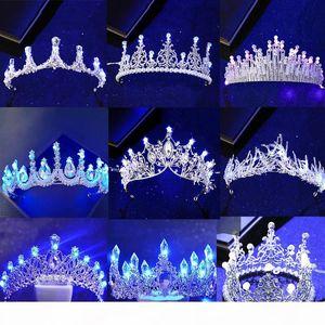 New Various Luminous Tiaras Crowns for Birde Blue Light LED Crown for Women Party Wedding Headpiece Hair Ornaments Crystal Tiara C18112001