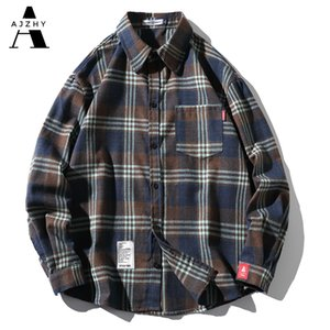 Ajzhy Casual Hommes Chemises Slim Fit T-shirt Plaid à manches longues Hommes Lâche Surdimensionnée Mode Chemises pour hommes Streetwear Tops M-5XL J1216