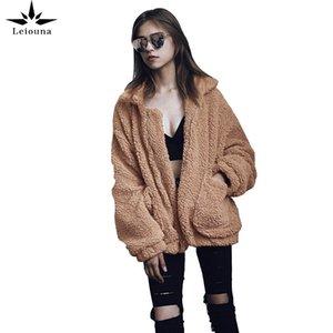 Leiouna Loose Plus Size Slim Zipper Fashion New Women's Jackets Coat FemaleAutumn Winter Fur Plush Coats Women's Clothing 201019