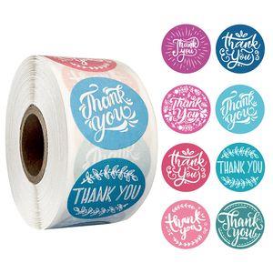 500 adet Rulo Teşekkürler Yuvarlak Sticker Yapışkanlı Etiket Sticker Zarf Mühür Sticker