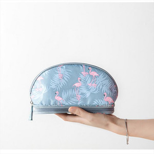 SHUJIN 2019 Portable Flamingo Cosmetic Bag Double Layer Travel Makeup Pouch Bags Circular Woman Make Up Bag Brush Organizer