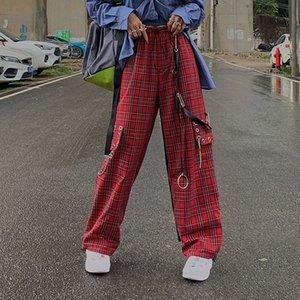 HOUZHOU Punk autunno Streetwear Plaid Hip Hop gamba larga a scacchi Pantaloni Moda Donna Pantaloni 201012