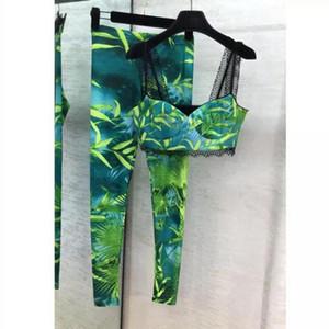 Neue Frauen Zwei Stück Sets Spaghetti-Bügel-Sleeveless Tops lange Hosen weibliche sexy Printed Zweiteilige Sets Runway Frauen Kleidung E05