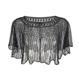 Vintage Women Striped Shawl Wraps Beaded Sequin Deco Evening Cape Bolero Flapper Cover Up Mesh Shrug LJ201111