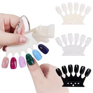 6*10pcs Crown Shape False Nail Tips Plastic Polish Swatch Natural Clear Black Nail Art Display Showing Shelf DIY Pratice Manicure Tools