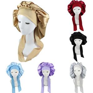 Long Hair Sock Cap Lace up Sleep Hat Wrap Night Cap Hair Care Bonnet Nightcap Women Wide Band Elastic Satin Hat Headcover Baggy Protect