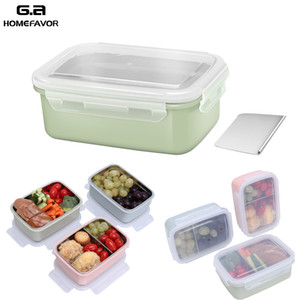 Lunch Box School Snack Food Container 304 Stainless Steel Bento Box Food Grade Kitchen Storage Box With Removable Divider T200710