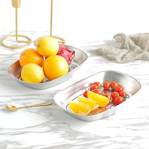 NEW Home Rectangular Silver Retro Candy Dried Fruit Small Iron Plate