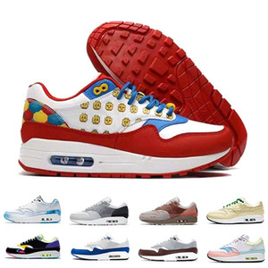 Nike Air Max 1  Nueva llegada Atmos Work White Hombres mujeres Zapatos para correr Zapatillas 87s OG Anniversary Parra Animal Pack Leopard Sports Designer Sneakers