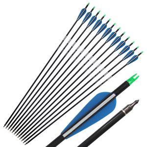 """31 """"Carbon Arrow Spine 340 con la freccia del carbonio della piuma blu per il composto Arco Arrow Pratica / Caccia"""