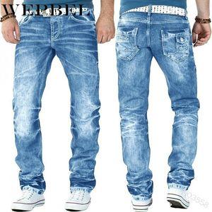 WEPBEL Slim Fit Men's Motorcycle Jeans Pleated Casual Biker Male Pants Broken Holes Straight Legs Hip Hop Jeans Trouser For Men