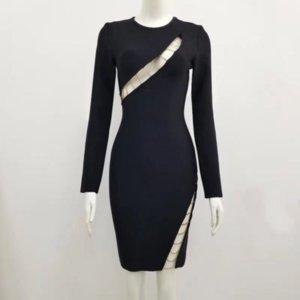 2021 New Fashion Women black round neck long sleeve Bodycon Bandage Elegant Designer Party Dress Wholesale