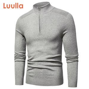 Luulla Primavera Nova Algodão Casual Suéteres de Turtleneck Pullover Outono Moda Malha Zip Camisola Jaqueta Men Coleção