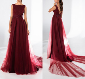 Soft Tulle A Line Evening Dresses Appliqued Beaded Backless Prom Dress Mother of Bride Dress Formal Party Gowns Robe De Soiree