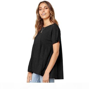 Solid Color Short Sleeve T Shirts Tops Women Loose Ruched Shirt Tops Tees Summer Women Clothes Drop Ship 220116