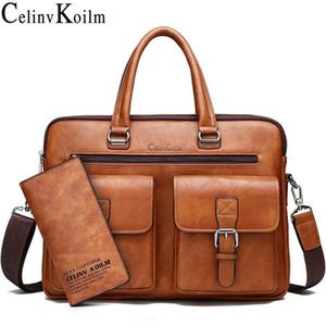 Celinv Koilm Мужчины Бизнес сумка для 13'3 дюймового ноутбука Портфель Набор сумка кожи высокого качество офис Сумка Totes Мужской