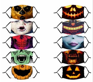 Halloween Reusable 3D Painting Pumpkin Grimace Cotton Face Mask Reusable Protective Carbon Filters Washable Adult Kids Face Mask GWC3046