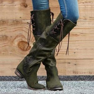Winter PU Leather Knee High Boots Women Snow Boots High Heels Side Zipper Female Shoes Black Red Green Large Size