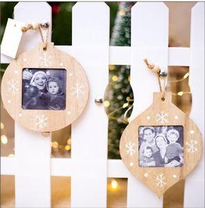 Sublimation Wood Cadre Décorations Fiche Pendentif Bricolage Photo Pendentif En Bois Cadre de Noël Cadeaux Noël Ornement GWB4138