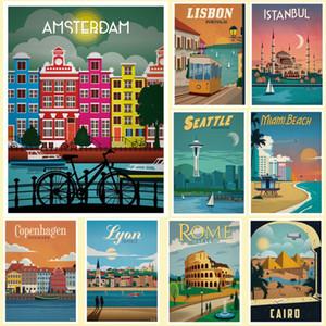 New Hot Tourism World Travel City Minimalist Travel Posters Vintage Travel Amsterdam Lisbon coated poster Print Wall Art Decor C1005