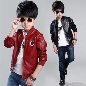 Top Quality Spring Leather Boys Jacket And Coat Waterproof Fashion Pattern O-Neck Black Kids Blazers Jackets Free Shipping Y200919
