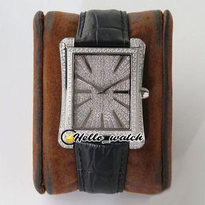 New Upgrade BLACK -TIE G0A33075 G0A33071 Miyota Automatic Mens Watch Gypsophila Diamond Dial Steel Diamond Bezel Leather Watches Hello_watch