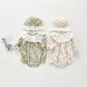 Milancel Baby Ropa Primavera Nuevo Body Floral Baby niña con cuello Mono de manga larga para niños para recién nacido F1221