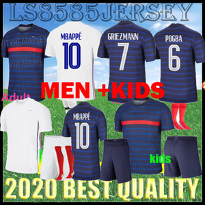 2020 2021 FFF 2 Star Uomini Soccer Jersey Mbappe Giroud Griezmann Kante 20 21 Pogba Dembele Maillot de Foot adulto Kit per bambini + calze di alta qualità