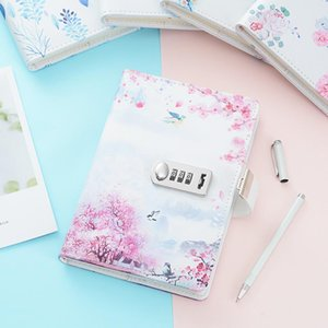 A5 Vintage architectural pattern and flower series password Notebook lockable line pages Notepad Agenda Stationery Supplies Gift