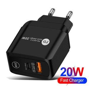 20 Вт PD + QC3.0 USB C Зарядное устройство Быстрая зарядка настенный адаптер питания EU UK Plug для универсальной модели оптом