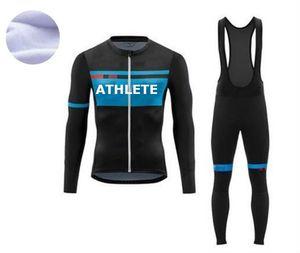 2021 Bisiklet Jersey Set Pro Takım Uzun Kollu Giysi Erkekler Kış Bisiklet Giyim Termal Polar Ropa Ciclismo Hombre Sıcak