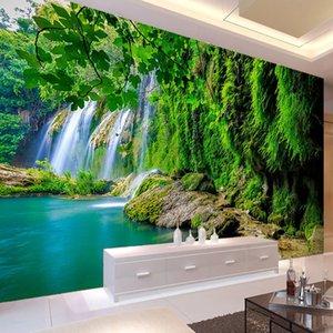 Encargo mural del papel pintado 3D paisaje de la cascada verde pared impermeable de la lona de pintura para la sala de estar Dormitorio Decoración