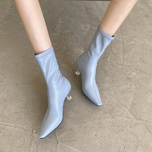 New Women Boots Transparent Thin High Heels Ladies Booties Fashion Sock Pointed Toe Female Shoes Sexy Dress Woman Ankle Boots