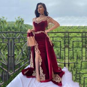Arabic Mermaid Velvet Evening Dress Overskirt Split Applique Lace Prom Gowns High Neck Tassel Algerian Outfit