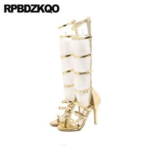 gold gladiator designer shoes women luxury 2020 metallic extreme stiletto sandals boots open toe high heel cheap knee summer