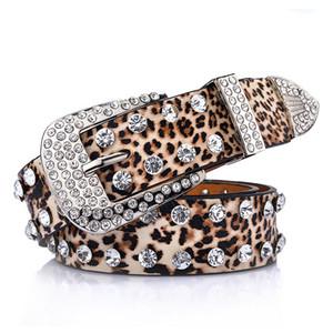 3.3*108CM Leopard Ladies Fashion double row Diamond Jewelled women's belt jeans belts European American waistband with metal buckle