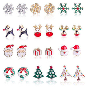 12 stili Charms Natale orecchini di diamanti Albero orecchini della lega del gocciolamento dell'olio Orecchino Bells fiocco di neve orecchini di Natale di favore di partito YYA516