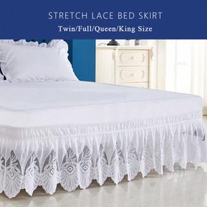 Enipate Volantes de encaje color puro falda de la cama elástica de alta calidad suelta cama delantal falda gemelo completa reina extragrande decoración yBoz #