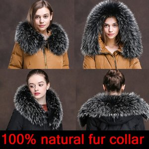 Cllikko 100% real para Parkas Agasalho Luxo Natural Raccoon Scarf Mulheres Grande gola de pele Brasão Lenços Masculino Jackets