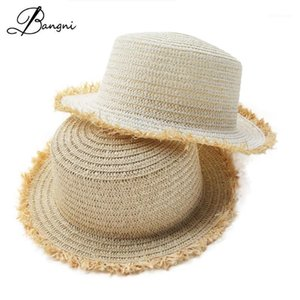 2020 Popular Summer Sun Beach Sombreros elegantes para mujeres casuales Panamá Papel Partido Paja Plastic Sun Visor Sombreros para Damas .1