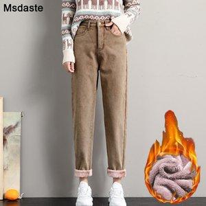 Winter Jeans for Women Velvet Thick Warm Denim Pants High Waist Fleece Mom Jeans Vintage Wide Leg Ankle-Length Harem Denim Pants 200930