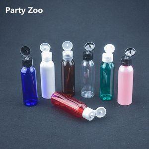 200 X 60ML di plastica PET trasparente bottiglia vuota Bottiglie di viaggio liquido lozione Dispenser Campione Bianco / Trasparente / vibrazione del nero Cap K66s #