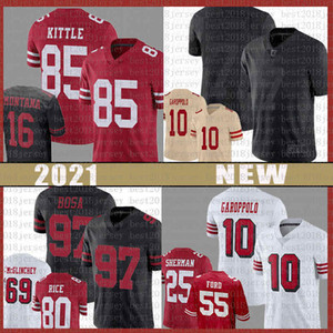 85 George Kittle 97 Nick Bosa 10 Jimmy Garoppolo Jersey Brandon Aiyuk Colin Kaepernick Richard Sherman Javon Kinlaw Dee Ford Reben Fast