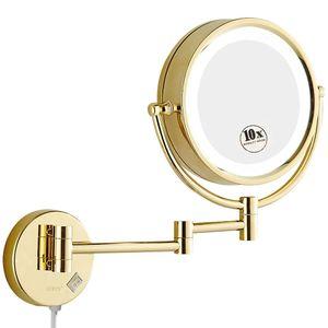 GURUN 10X / 1X ingrandimento specchio di trucco da barba con luci a LED Bagno a parete Vanity Bright Light Mirrors Gold, Plug In C0127