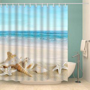 Kancalar Blue Sky Denizyıldızı Kabuklu Seashell Su geçirmez Kumaş Polyester Banyo Okyanus Dekorasyon X1018 ile Tropical Beach Duş Perde